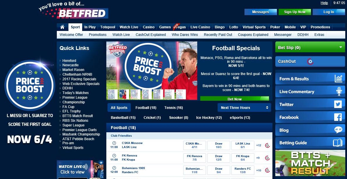 Betfred- главная страница